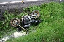 Nehoda motorkáře u Železné Rudy.