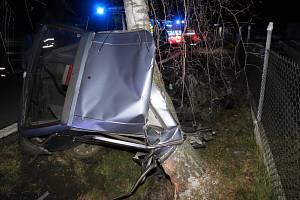 Náraz vozidla do stromu v Petrovicích u Měčína.
