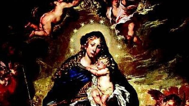 Obraz Korunovace Panny Marie má rozměry 1,80 x 3 m a visí nad schodištěm do prvního patra zámku Klenová.