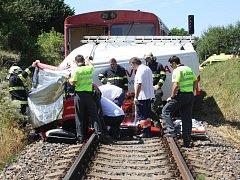 Dopravní nehoda vlaku a dodávky v Klatovech