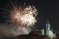 Novoroční ohňostroj v Klatovech.