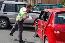 Nehoda v klatovské Měchurově ulici