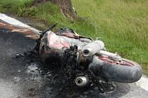 Nehoda motorkáře u Zavlekova