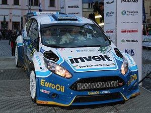 Václav Pech se spolujezdcem Petrem Uhlem v cíli Rallye Šumava Klatovy 2017