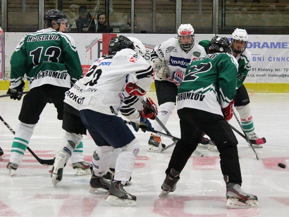Krajská liga juniorů 2016/2017: HC Klatovy B (bílé dresy) - HC Slavoj Český Krumlov 4:5sn