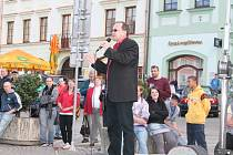 Mítink Tomáše Vandase, lídra dělnické strany, v Klatovech