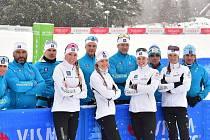 Vltava Fund Ski Team včetně Jana Šraila v Itálii.