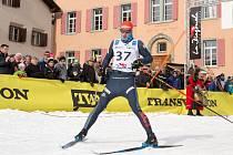 Jan Šrail z Bauer Ski Teamu v cíli La Diagonely 2018.