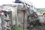 Nehoda popelářského auta u Horažďovic