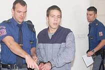 Babku k soudu přivedla eskorta, neboť si odpykává ve vězení trest za krádeže.