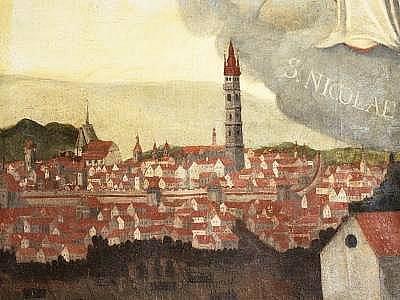 Tato tzv. veduta je namalována na oltářním obraze v kostele v Lubech. Pochází z 18. století.  Toto vyobrazení města se už do knihy o Klatovech nedostalo.
