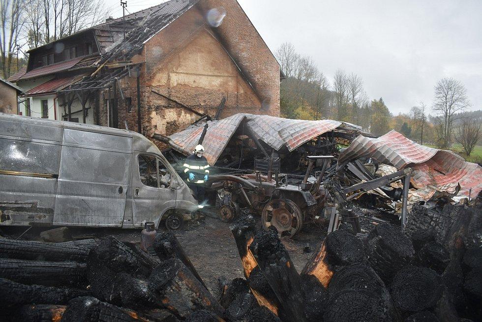 Požár hospodářské budovy a části krovu rodinného domu v Blatech u Nýrska.