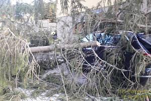 Na Špičáku spadl strom na auto a dráty elektrického vedení.