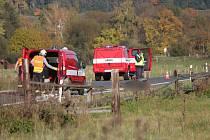 Nehoda motorkářů u Petrovic.