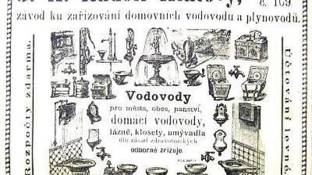 Dobový inzerát z klatovských novin z let 1900 - 1910