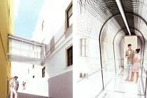 Vizualizace moderního prampouchu, který vznikne  v Balbínově ulici v Klatovech.