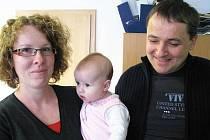 Janička Holečková s rodiči Josefem a Jaroslavou.