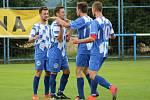 Fotbalisté FK Okula Nýrsko (na archivním snímku hráči v modrobílých dresech) doma porazili Bolevec, kouče ale zklamala předvedená hra.