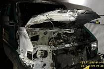 Požár auta v Horažďovicích.