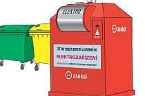 Červené kontejnery jsou určené pro elektroodpad