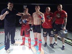 Mistrovství ČR v MMA 2018 v Českých Budějovicích: zleva Václav Toman, Martin Šíma, Petr Švarc, Petr Macháček a jeho asistent.