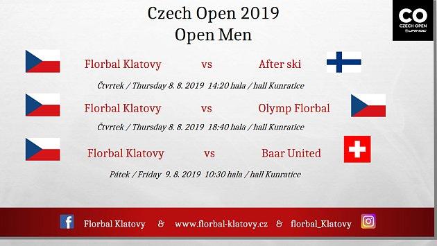 Program florbalistů Klatov vzákladní skupině Czech Open 2019.