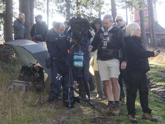 Filmaři na Pancíři při natáčení filmu Tady hlídám já