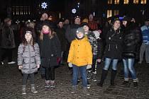 Oslavy Nového roku na klatovském náměstí.