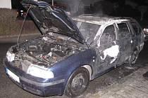 Požár auta v Klatovech