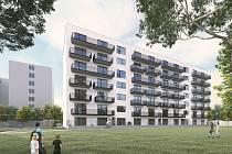 Vizualizace nových domů i s parkovacím domem.