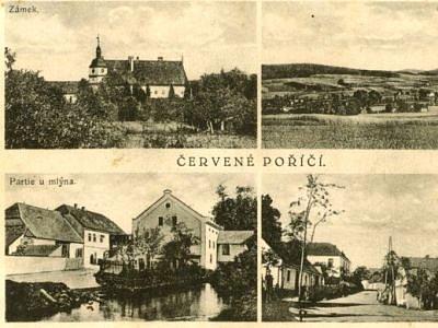 Dobová pohlednice Červeného Poříčí  z roku 1940.