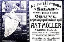 Dobový inzerát z klatovských novin (1900 – 1910).