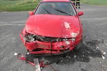 Střet dvou vozidel u Obytců.