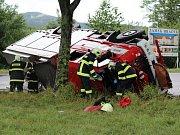 Dobrovolní hasiči ze Sušice měli nehodu u Hrádku.