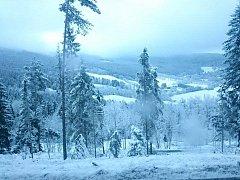 První sníh v Železné Rudě.