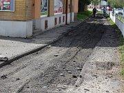 Opravy chodníků v Plzeňské ulici v Klatovech.