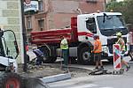 Opravy silnic v Klatovech.