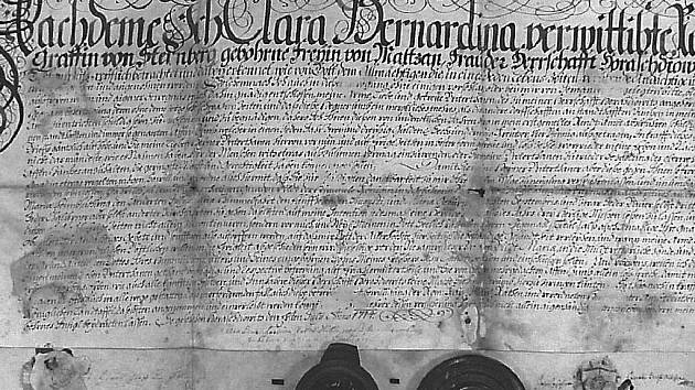 "Listina, kterou v roce 1714 Clara Bernardina hraběnka von Sternberk osvobodila Hejnou od placení ""opičného""."
