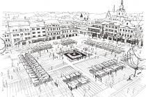 Skica klatovského náměstí