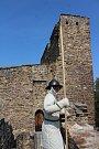 Štíty stříbrného lva na hradě Velhartice.