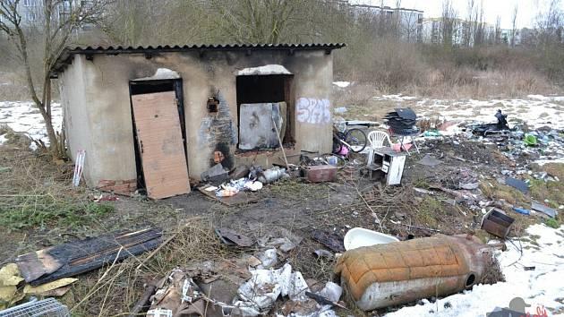 Požár příbytku v Klatovech.