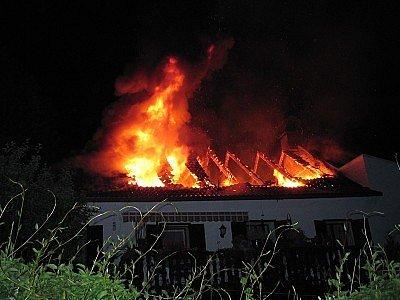 Požár rodinného domu v Sušici.