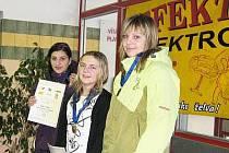V kategorii IV dívek na 50 metrů prsa vybojovaly medaile: zleva stříbrná Milena Jůdová, vítězka Eva Zámečníková a bronzová Diana Bauerová.
