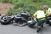 Nehoda motorkáře u Vlčkovic.