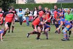 Druhé kolo Poháru Čechy v rugby - zápas Rugby Šumava Nýrsko (červení) - ARC Iuridica Praha