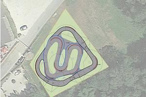 Vizualizace pumptrackové dráhy v Železné Rudě.