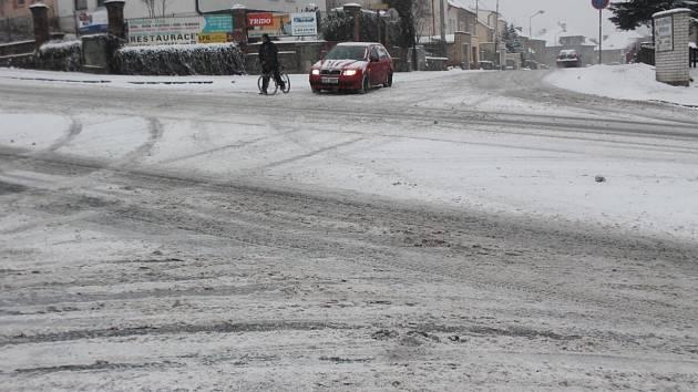 Sněhová nadílka v Klatovech 23. února.