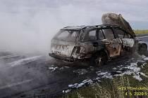 Požár auta u Nové Vísky.