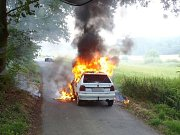 Požár vozidla na Klatovsku.