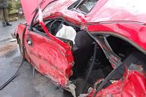 Tehdejší dopravní nehoda v Janovicích nad Úhlavou. Rok 2009.